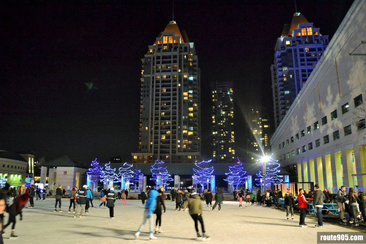 """Skate on the Square"" right at the heart of Mississauga Ontario Canada,"