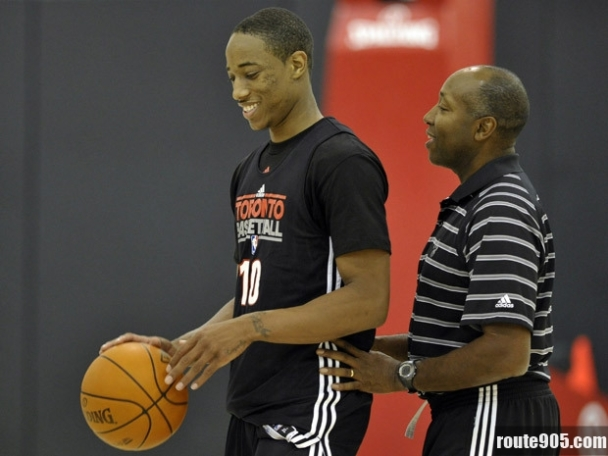 Demar Derozan with Coach Casey